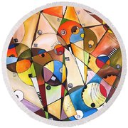 Abstraction 1768 Round Beach Towel