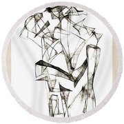 Abstraction 1955 Round Beach Towel