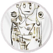 Abstraction 2045 Round Beach Towel
