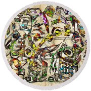 Abstraction 2049 Round Beach Towel