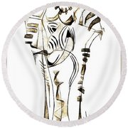 Abstraction 2152 Round Beach Towel