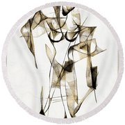Abstraction 2176 Round Beach Towel