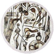 Abstraction 2217 Round Beach Towel