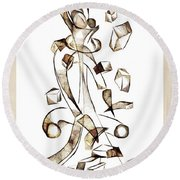 Abstraction 2257 Round Beach Towel
