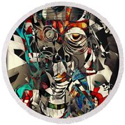 Abstraction 2503 Round Beach Towel