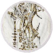 Abstraction 2562 Round Beach Towel