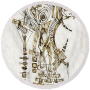 Abstraction 2563 Round Beach Towel