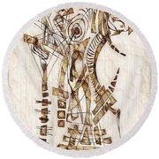 Abstraction 2564 Round Beach Towel