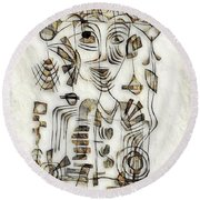 Abstraction 2570 Round Beach Towel