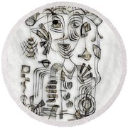 Abstraction 2573 Round Beach Towel