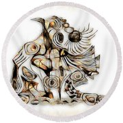 Abstraction 2737 Round Beach Towel