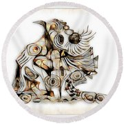 Abstraction 2739 Round Beach Towel