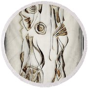 Abstraction 2819 Round Beach Towel