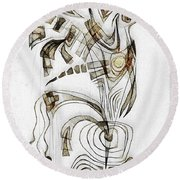 Abstraction 2829 Round Beach Towel
