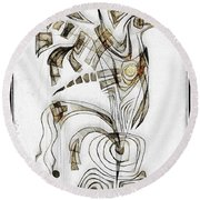 Abstraction 2831 Round Beach Towel