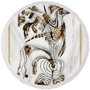 Abstraction 2833 Round Beach Towel