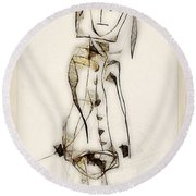 Abstraction 2837 Round Beach Towel