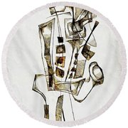 Abstraction 2842 Round Beach Towel
