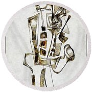 Abstraction 2843 Round Beach Towel