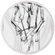 Abstraction 2852 Round Beach Towel