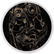Abstraction 2978 Round Beach Towel