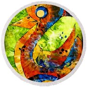 Abstraction 3198 Round Beach Towel
