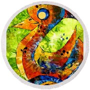 Abstraction 3199 Round Beach Towel