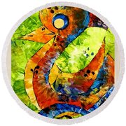 Abstraction 3200 Round Beach Towel