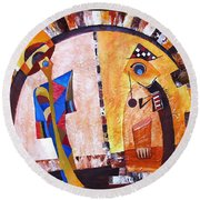 Abstraction 3217 Round Beach Towel