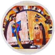 Abstraction 3219 Round Beach Towel