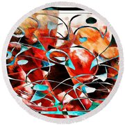 Abstraction 3423 Round Beach Towel