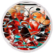 Abstraction 3424 Round Beach Towel