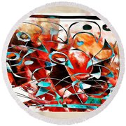 Abstraction 3426 Round Beach Towel