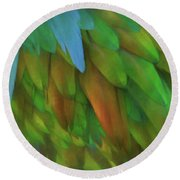Abstractions From Nature - Pigeon Feathers Round Beach Towel