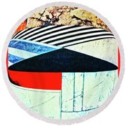 Abstracts On Red Round Beach Towel