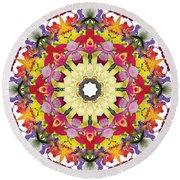 Abundantly Colorful Orchid Mandala Round Beach Towel