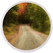 Acadia Backroads Round Beach Towel
