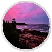 Acadia National Park Sunset Round Beach Towel