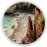 Acadia's Monument Cove Round Beach Towel