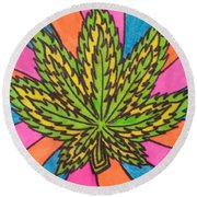 Aceo Cannabis Abstract Leaf  Round Beach Towel