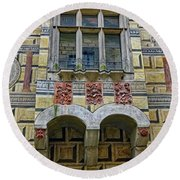 Achitecture Of The Little Castle Within Cesky Krumlov In The Czech Republic Round Beach Towel
