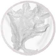 Aconcagua Art Print Contour Map Of Mount Aconcagua In Argentina Round Beach Towel