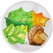Acorn And Leaves Round Beach Towel