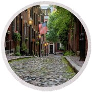 Acorn St. Boston Ma. Round Beach Towel