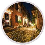 Acorn Street Autumn Boston Mass Painterly Round Beach Towel