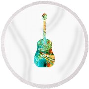 Acoustic Guitar 2 - Colorful Abstract Musical Instrument Round Beach Towel