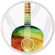 Acoustic Guitar - Colorful Abstract Musical Instrument Round Beach Towel by Sharon Cummings