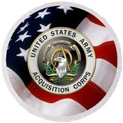 Acquisition Corps - A A C Branch Insignia Over U. S. Flag Round Beach Towel