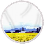 Acres Of Daffodils Round Beach Towel