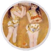 Acrobats At The Cirque Fernando Francisca And Angelina Wartenberg 1879 Round Beach Towel